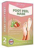 Dermatologisch Getestete Erdbeere Fußmaske Hornhaut Socken für Weiche Babyfüße von Plantifique - Wirksam bei Schwielen, Abgestorbener und Trockener Haut - Tief Rissige Fersen Reparat - 2 Paare